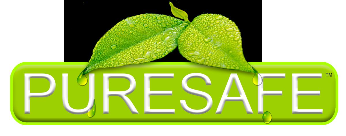 The logo for PureSafe the Non-hazardous Organic Fruit & Vegetable Multi-Surface Disinfectant Sanitizer at puresafe.net